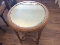 Antique Karpen Hand Carved Walnut Tall Mirrored glass side table in Yucca Valley, California