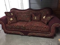 Burgundy brocade sofa couch camelback excellent condition! in Travis AFB, California
