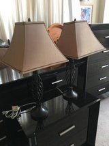 2 Light  Brown Tapered Square Shades and Brown Metal Base in Naperville, Illinois