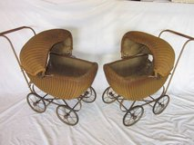2 Matching Wicker Doll Baby Carriage Buggy Stroller Pram Canopy ANTIQU in Lockport, Illinois
