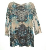 4X Fashion Bug Beaded Sequin Studded Boat Neck Sublimation Blouse Plus 26w 28w 4X in Yorkville, Illinois