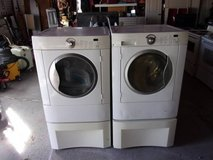 Frigidaire Matching Front Load Washer and Dryer on Pedestals in Fort Riley, Kansas