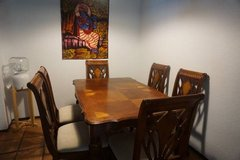 Hard wood dining room table and 6 chairs plus leaf in San Antonio, Texas