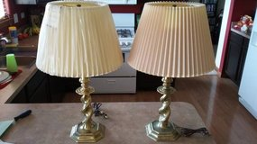 2 Mid Century Stiffel Brass Table Lamps with Shades in Plainfield, Illinois