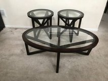 3pc Dark Cherry and Glass Oval/Round Coffee Table set in Westmont, Illinois