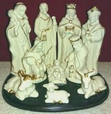 NATIVITY SCENE WITH WOOD BASE - 11 PCS in Elgin, Illinois