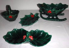Vintage Lefton's  Holly Berry Sleigh & Basket Candy Bowl / Dish Set in Orland Park, Illinois