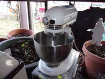 White Kitchen Aid Mixer With Bowl and Attachments in Fort Riley, Kansas
