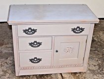 Chalk Painted Vintage Oak Washstand/Small Cabinet, Annie Sloan French Linen in Wheaton, Illinois