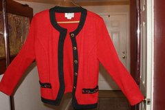 Jeffrey and Dana Red and Black Sweater with Scarf Size 8 in Kingwood, Texas