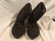 womens dark brown faux fur genuine leather 10m slip on mid calf boots   02033 in Fort Carson, Colorado