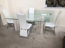 Rectangular Glass Top Dining Table + 4 White Leather Chairs in New Lenox, Illinois