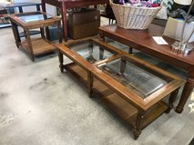 Matching Wood and Glass Coffee Table and End Table in Camp Lejeune, North Carolina