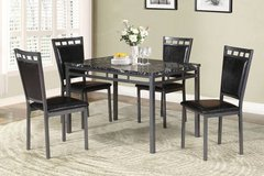 Dark Marble Finish Metal Dining Table + 4 Chairs Set FREE DELIVERY in Camp Pendleton, California