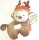 """new fisher-price monkey reindeer ring rattle plush soft baby toy 7"""" christmas in Batavia, Illinois"""