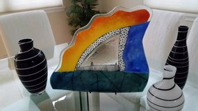 COLORFUL CONTEMPORARY LARGE ART GLASS PLATTER in Saint Petersburg, Florida