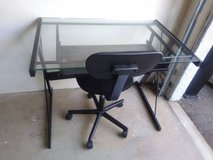 Glass Black Computer Desk with Sliding Tray and Task Chair in Roseville, California