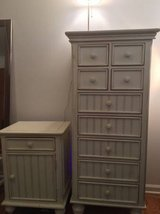 2 piece White Washed Bedroom night stand w/ Full /double size headboard in Elgin, Illinois