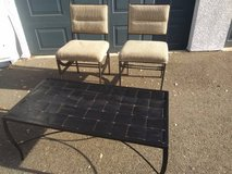 2 Wrought Iron Padded back  Seat and black metal lattice Coffee Table in Roseville, California