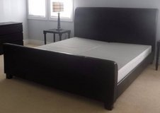 Like New!  King Size Bed Head + foot board, Box Springs Brown Padded in Orland Park, Illinois