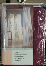 """New 59"""" x 63"""" Burgundy Sheer Panel Curtain. 5 brand new packs. $6. ea in Fort Carson, Colorado"""