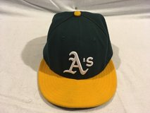 official on field oakland As new era 59fifty 7 1/4 green yellow baseball cap  02069 in Huntington Beach, California
