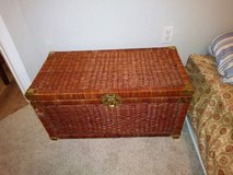 Asian Rustic Wicker Rattan Brass Hinge fittings Chest Steamer Trunk in Sacramento, California