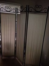 3 Panel Privacy Screen Wrought Iron and cloth in Sacramento, California