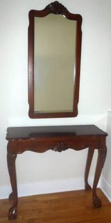 "Vintage Cherry Entry / Console 36"" Table & Mirror ~ Beauty! in Joliet, Illinois"