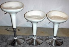 (3) Contemporary White Adj Height Bar / Counter stool - Chrome Base in Joliet, Illinois