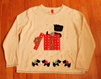 NWOT Ugly Christmas Sweater--Creme w/Appliqued Scotty Dog in Present, 2XL, sz 20 in St. Charles, Illinois