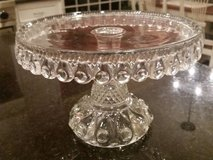 Cake Pedestal - Clear Glass - Vintage - Very Detailed in Orland Park, Illinois
