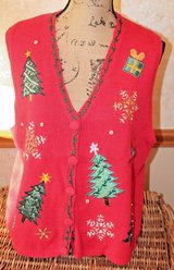 Ugly Christmas Sweater Vest -- Red Appliqued Trees, Presents, Snowflakes, Lg in Aurora, Illinois