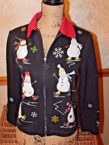 Cute Appliqued Snowmen Sweater, Black Zip Cardigan, Red Collar, Lightweight, Petite Small in Bolingbrook, Illinois