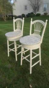 Pair of Swivel Cream Barstools with pillows #60 in Joliet, Illinois