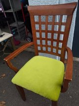 Lattice Back Dark Maple Style Arm Chair with Green padded seat in Sacramento, California