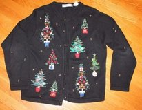 Beautiful Vintage Ugly Christmas Sweater, Black, Embroidered/Beaded Trees, Medium in Aurora, Illinois