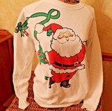 Vintage White Santa Sweatershirt, American Sportswear PolyCootton, Large in Aurora, Illinois