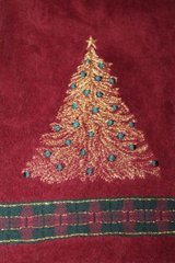 Pair Christmas Bath Towels, Claret Gold Glitter Tree, Plaid Trim, Kohl's $19.99 in Batavia, Illinois