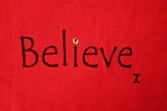BELIEVE Red Long Sleeve Cotton Holiday Top in Joliet, Illinois