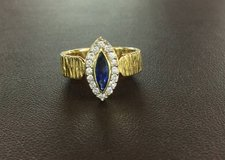 18kt Navette Natural Sapphire / Diamond Halo Ring in Honolulu, Hawaii