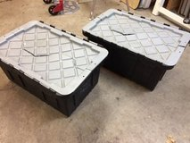 2 plastic totes with hinged lids in Bolingbrook, Illinois