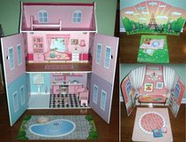 "New! Wood Play House Mansion + dollhouse furniture + Backdrop 12"" Doll in Bolingbrook, Illinois"