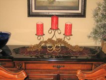 Gold Colored Wrought Iron Festive 3 Candle Holder Center Piece in Lockport, Illinois