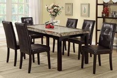 Two-Toned Marble Finish Dining Table + 6 Chairs Set FREE DELIVERY in Oceanside, California