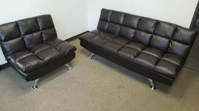 New Espresso Leatherette Sofa Bed and Chair Sectional FREE DELIVERY in Camp Pendleton, California