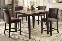 Dark Marble Finish Counter Dining Table + 4 Chairs Set FREE DELIVERY in Miramar, California