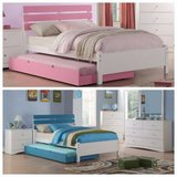 New Twin Bed Frame and Trundle Bed Frame (blue or pink) FREE DELIVERY in Miramar, California