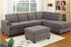 Charcoal Gray Brown Waffle Suede Fabric Sectional Sofa FREE DELIVERY in Camp Pendleton, California