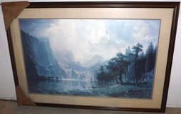 Antique LARGE Bierstadt Mountain Lake - Deer Framed Art in Orland Park, Illinois
